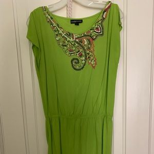 Embroidered green dress with rope belt